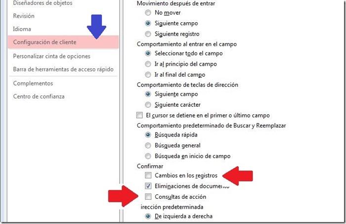Configuraciones para consultas